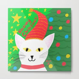 Christmas Cat short white hair yellow eyes Metal Print