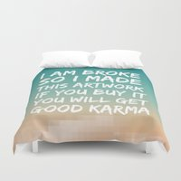 karma Duvet Covers featuring Good Karma by Frederic Bartl