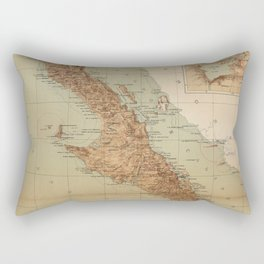 Vintage Map of Baja California (1922) Rectangular Pillow