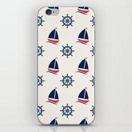 Blue Sea Ship Pattern iPhone Skin