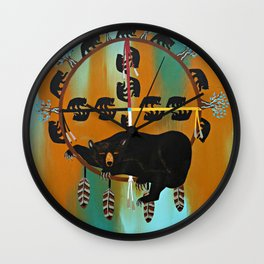 Bear Totem Medicine Wheel  Wall Clock