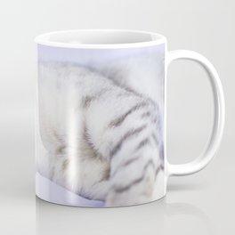 Silver tabby cat on purple blanket Coffee Mug
