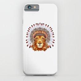 Portrait of Lion King in war bonnet. Wild Lion Wild animal wearing inidan hat hand-drawn illustration iPhone Case