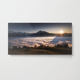 MOUNTAIN SUNSET ABOVE THE SEA OF FOG Metal Print