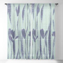 Indigo Irises Sheer Curtain