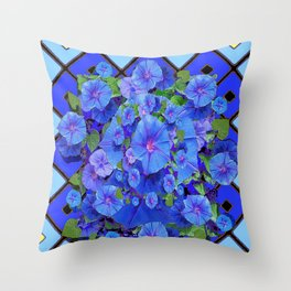 Shades of Blue Diamond Patterns Morning Glories Art Throw Pillow