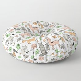 Woodland foxes rabbits deer owls forest animals cute pattern by andrea lauren Floor Pillow