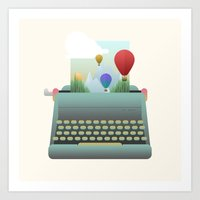 write Art Prints featuring Write your story by Moremo