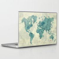 vintage map Laptop & iPad Skins featuring World Map Blue Vintage by City Art Posters