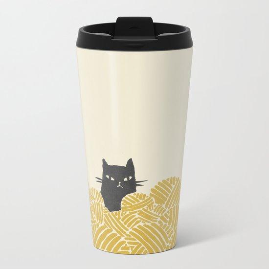 Cat and Yarn Metal Travel Mug