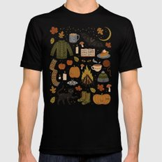 Autumn Nights Black Mens Fitted Tee SMALL