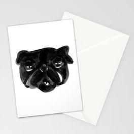 Black and white Pug Dog modern Stationery Cards