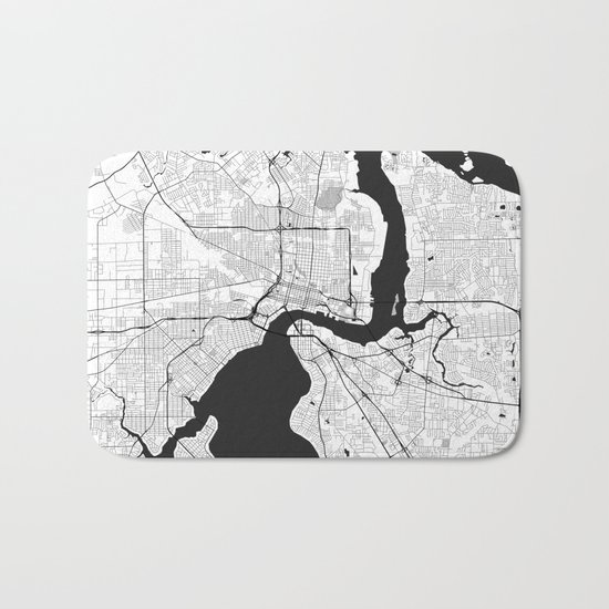 Jacksonville Map Gray Bath Mat