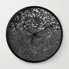 Gray Black Glitter Meets Gray Black Concrete #1 #decor #art #society6 Wall Clock