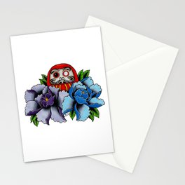 Daruma Doll Peony Flowers Tattoo Stationery Cards