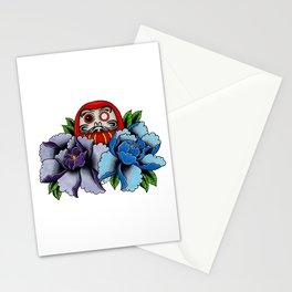 Daruma Doll Peony Flowers Tattoo Stationery Cards