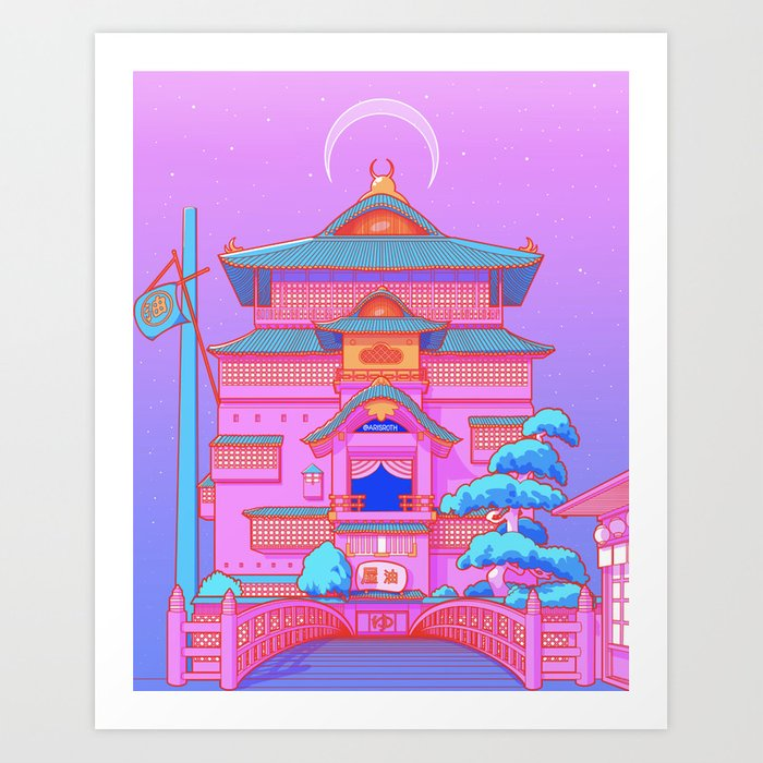 """New Tokyo Moonrise"" the Spirited Away Bathhouse by Aris Roth Art Print"