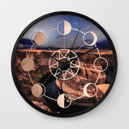 Mandala Southwest Desert Sun and Moon Phases Wall Clock