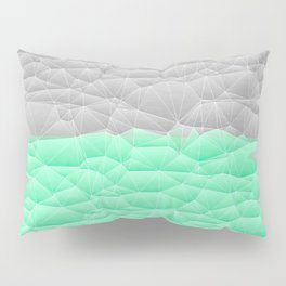 Vibrant Mint Green and Silver Quilted Design Pillow Sham