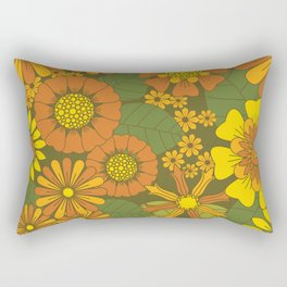 Orange, Brown, Yellow and Green Retro Daisy Pattern Rectangular Pillow