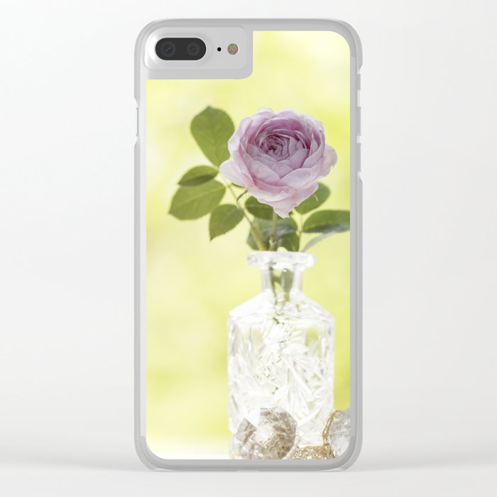 Pink Rose in crystal vase- Stilllife Roses Flowers photography Clear iPhone Case