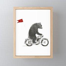 Motorcycle Bear Framed Mini Art Print