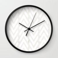 decal Wall Clocks featuring Chevron Tracks by Charlene McCoy