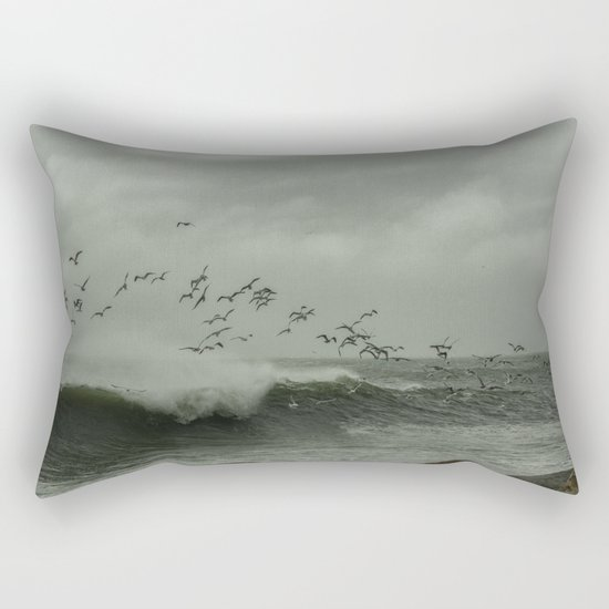 Birds dancing in the waves Rectangular Pillow