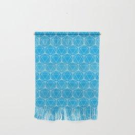 Icosahedron Pattern Bright Blue Wall Hanging