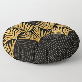 Art Deco Luxurious Gold and Ebony Black Elegant Design Floor Pillow