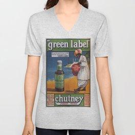 Vintage poster - Green Label Indian Mango Chutney Unisex V-Neck