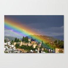 Rainbow over Dar alHorra Palace at Granada. Spain Canvas Print