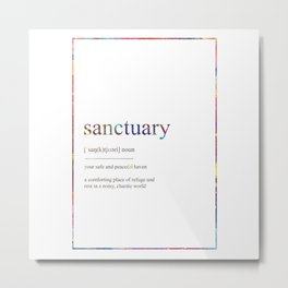 SANCTUARY 479 Watercolor Map Yoga Quote Definition Metal Print
