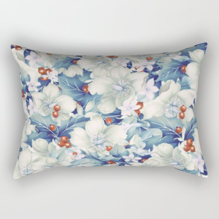 flowers and red berries Rectangular Pillow