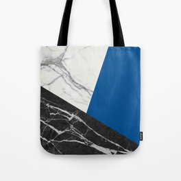 Black and White Marble with Pantone Lapis Blue Tote Bag