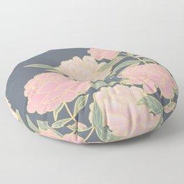 Pink peonies vintage pattern Floor Pillow