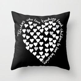 Hearts Heart Teacher White on Black Throw Pillow