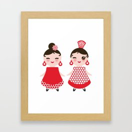 Spanish Woman flamenco dancer. Kawaii cute face with pink cheeks and winking eyes. Gipsy girl Framed Art Print