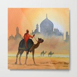Camel Riders Alongside the Taj Mahal Metal Print
