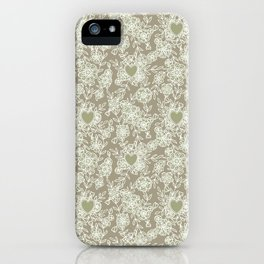 Floral lace hearts on linen iPhone Case