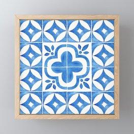 Handpainted watercolor tiles. Decorative abstract design. Framed Mini Art Print