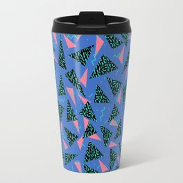 Tina - 80s Triangle print, bright tri blue memphis design, memphis triangle Travel Mug