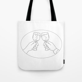 Hands With Wine Glass Toasting Drawing Tote Bag