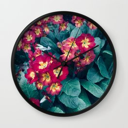 Pretty Little Red & Yellow Flowers Wall Clock