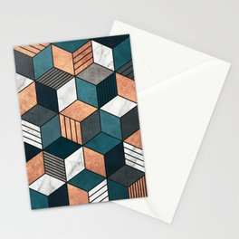 Copper, Marble and Concrete Cubes 2 with Blue Stationery Cards
