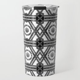 Geometric Black and White Tribal-Inspired Repeat Pattern Travel Mug
