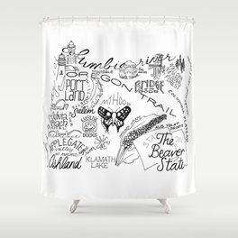 Oregon - Hand Lettered Map Shower Curtain
