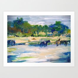 Chincoteague Horses painting Art Print