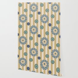 Mod Flowers on Stripes in Navy, Teal and Tan Wallpaper
