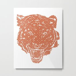 TIGER SILHOUETTE HEAD WITH PATTERN Metal Print